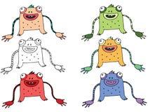 Τα αστεία κινούμενα σχέδια που χρωματίζονται γράφουν το χέρι - που γίνεται σύρετε doodle το φίδι αλλοδαπών τεράτων απεικόνιση αποθεμάτων