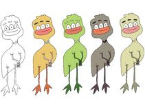 Τα αστεία κινούμενα σχέδια που χρωματίζονται γράφουν το χέρι - που γίνεται σύρετε doodle το κοτόπουλο αλλοδαπών τεράτων διανυσματική απεικόνιση