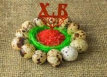 Τα αυγά ορτυκιών είναι σε έναν κύκλο γύρω από το πλαστικό μπλε κύπελλο του κόκκινου άλατος σε έναν ξύλινο πίνακα στοκ εικόνες