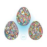 Τα αυγά Πάσχας καθορισμένα το υπόβαθρο Συρμένη χέρι αφηρημένη απεικόνιση διακοπών Στοκ φωτογραφία με δικαίωμα ελεύθερης χρήσης