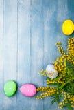 Τα αυγά Πάσχας με το mimosa κλάδων αναπηδούν κίτρινο Στοκ Φωτογραφία