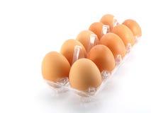 Τα αυγά που συσκευάστηκαν υπόβαθρο απομόνωσαν το άσπρο Στοκ Εικόνες
