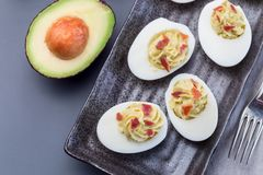 Τα αυγά Deviled γέμισαν με το αβοκάντο, το λέκιθο αυγών και γεμίζοντας μαγιονέζας, που διακοσμήθηκαν με το μπέϊκον, οριζόντια, το στοκ εικόνες