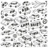 Τα αυτοκίνητα doodles θέτουν Στοκ Φωτογραφίες