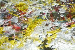 Τα αφηρημένα ασημένια κόκκινα χρυσά χρώματα κεριών, παφλασμοί, βούρτσα κτυπούν το χρώμα watercolor Αφηρημένο υπόβαθρο χρωμάτων Wa Στοκ εικόνα με δικαίωμα ελεύθερης χρήσης