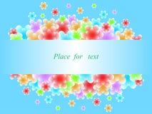 Τα αφηρημένα λουλούδια πετούν από το πλαίσιο r Φωτεινό μπλε υπόβαθρο απεικόνιση αποθεμάτων