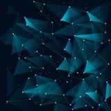 Τα αφηρημένα μπλε τρίγωνα χρώματος και το χαμηλό πολύγωνο με τις γραμμές συνδέουν ελεύθερη απεικόνιση δικαιώματος