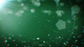 Τα αφηρημένα μόρια με το φως σε σκούρο πράσινο περιτυλίχτηκαν ελεύθερη απεικόνιση δικαιώματος