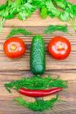 Τα λαχανικά κατωφλιών, οι ντομάτες, το αγγούρι, το πιπέρι τσίλι και τα χορτάρια με μορφή των ατόμων διευθύνουν στο ξύλινο υπόβαθρ Στοκ φωτογραφίες με δικαίωμα ελεύθερης χρήσης