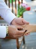 Τα δαχτυλίδια ανταλλαγής Newlyweds, νεόνυμφος βάζουν το δαχτυλίδι σε ετοιμότητα της νύφης Στοκ εικόνα με δικαίωμα ελεύθερης χρήσης