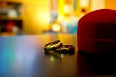 Τα δαχτυλίδια ζευγών της αγάπης Στοκ Εικόνες