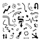 Τα βέλη δίνουν συμένος Περιγραμματικοί δείκτες βελών γραμμών Doodle και διανυσματικά σύμβολα κακογραφίας κατεύθυνσης διανυσματική απεικόνιση