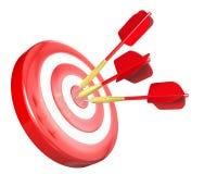 τα βέλη χτυπούν τον κόκκινο στόχο τρία απεικόνιση αποθεμάτων