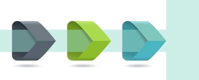 Τα βέλη Infographic με 3 επιταχύνουν τις επιλογές και τα στοιχεία γυαλιού Πρότυπο στο επίπεδο ύφος σχεδίου απεικόνιση αποθεμάτων