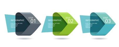 Τα βέλη Infographic με 3 επιταχύνουν τις επιλογές και τα στοιχεία γυαλιού Διανυσματικό πρότυπο στο επίπεδο ύφος σχεδίου διανυσματική απεικόνιση