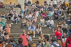 Τα βήματα, που φαίνονται ισπανικά από Piazza Di Spagna Στοκ εικόνα με δικαίωμα ελεύθερης χρήσης