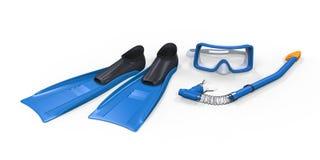 Τα βατραχοπέδιλα, γυαλιά και κολυμπούν με αναπνευτήρα απομονωμένος στο άσπρο υπόβαθρο Στοκ Εικόνες