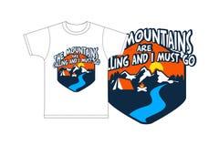 Τα βουνά και πρέπει να πάω για την τυπωμένη ύλη παιδιών μπλουζών Στοκ Φωτογραφία