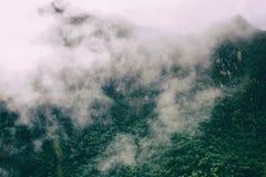 Τα βουνά των Άνδεων στην υδρονέφωση στο ίχνος Inca Περού τρισδιάστατος νότος τρία απεικόνισης αριθμού της Αμερικής όμορφος διαστα Στοκ Εικόνες