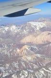 Τα βουνά των Άνδεων, η πιό μακροχρόνια ηπειρωτική σειρά βουνών στον κόσμο, βλέπουν από μια άποψη αεροπλάνων Στοκ Εικόνες