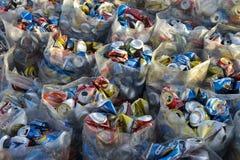 Τα βραζιλιάνα ποτά κονσερβοποιούν το σωρό ανακύκλωσης Στοκ φωτογραφία με δικαίωμα ελεύθερης χρήσης