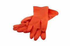 τα γάντια ανασκόπησης απομόνωσαν το λαστιχένιο λευκό Στοκ Φωτογραφία