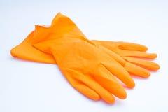 τα γάντια ανασκόπησης απομόνωσαν το λαστιχένιο λευκό στοκ εικόνα