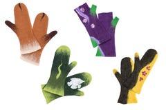 Τα γάντια και τα γάντια πυγμαχίας, χειροποίητα το μαλλί Στοκ Φωτογραφία