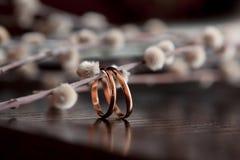 Τα γαμήλια δαχτυλίδια βρίσκονται σε έναν ξύλινο πίνακα Κλαδίσκοι ιτιών στο ξύλινο υπόβαθρο σύμβολα σημαδιών στοκ φωτογραφίες με δικαίωμα ελεύθερης χρήσης