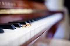 Τα γαμήλια δαχτυλίδια βρίσκονται στα κλειδιά πιάνων στοκ φωτογραφίες με δικαίωμα ελεύθερης χρήσης
