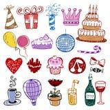 τα γενέθλια doodles έθεσαν Στοκ Εικόνες