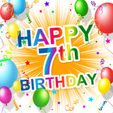 Τα γενέθλια έβδομος αντιπροσωπεύουν την ευτυχία 7 και τον εορτασμό ελεύθερη απεικόνιση δικαιώματος