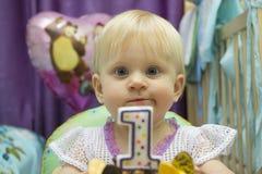 Τα γενέθλια του παιδιού ένα έτος στοκ φωτογραφία με δικαίωμα ελεύθερης χρήσης