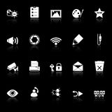 Τα γενικά εικονίδια οθονών υπολογιστή με απεικονίζουν στο μαύρο υπόβαθρο Στοκ Φωτογραφία