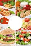 Τα γεύματα γεύματος κολάζ συλλογής επιλογών τροφίμων τρώνε την ομάδα εστιατορίων Στοκ Εικόνα