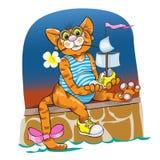 Τα γελοία παιχνίδια γατών με το σκάφος παιχνιδιών Στοκ Εικόνες