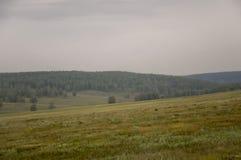 Τα γκρίζα σύννεφα στον πρόωρο ουρανό φθινοπώρου πέρα από τους πράσινους τομείς, τα δέντρα, τα δάση και τα τεράστια βουνά κλείνουν Στοκ φωτογραφία με δικαίωμα ελεύθερης χρήσης