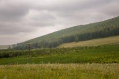 Τα γκρίζα σύννεφα στον πρόωρο ουρανό φθινοπώρου πέρα από τους πράσινους τομείς, τα δέντρα, τα δάση και τα τεράστια βουνά κλείνουν Στοκ Εικόνα