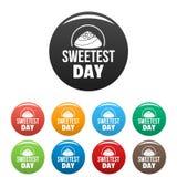 Τα γλυκά εικονίδια ημέρας καραμέλας καθορισμένα το χρώμα ελεύθερη απεικόνιση δικαιώματος