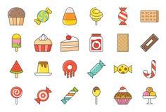 Τα γλυκά και το εικονίδιο καραμελών θέτουν το 2/2 γεμισμένο ύφος περιλήψεων ελεύθερη απεικόνιση δικαιώματος