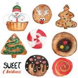 Τα γλυκά μπισκότα Χριστουγέννων καθορισμένα το υπόβαθρο απεικόνιση αποθεμάτων