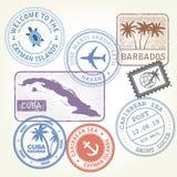 Τα γραμματόσημα ταξιδιού καθορισμένα την καραϊβική θάλασσα διανυσματική απεικόνιση