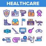 Τα γραμμικά διανυσματικά εικονίδια υγειονομικής περίθαλψης καθορισμένα το λεπτό εικονόγραμμα διανυσματική απεικόνιση