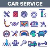 Τα γραμμικά διανυσματικά εικονίδια υπηρεσιών αυτοκινήτων καθορισμένα το λεπτό εικονόγραμμα διανυσματική απεικόνιση