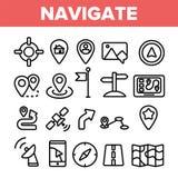 Τα γραμμικά διανυσματικά λεπτά εικονίδια ναυσιπλοΐας καθορισμένα το σύμβολο απεικόνιση αποθεμάτων