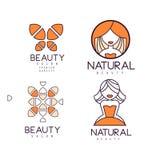 Τα γραμμικά εμβλήματα για την ομορφιά ή το σαλόνι καλλυντικών με το πορτοκάλι γεμίζουν Διανυσματικά γεωμετρικά λογότυπα με τα αφη Στοκ εικόνες με δικαίωμα ελεύθερης χρήσης