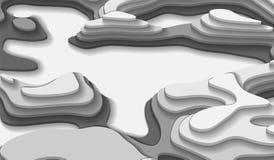 Τα γραπτά εμβλήματα με ένα τρισδιάστατο αφηρημένο υπόβαθρο του εγγράφου κόβουν τα κύματα Χρώματα αντίθεσης Διανυσματικό σχέδιο σχ στοκ φωτογραφίες