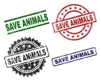 Τα γρατσουνισμένα κατασκευασμένα ΖΏΑ SAVE σφραγίζουν τα γραμματόσημα διανυσματική απεικόνιση