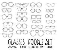 Τα γυαλιά δίνουν τη συρμένη doodle γραμμή σκίτσων Στοκ Φωτογραφίες