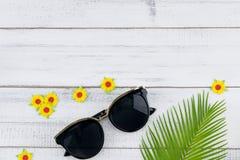 Τα γυαλιά ηλίου διακοσμούν με τα φύλλα φτερών και τα κίτρινα λουλούδια εγγράφου Στοκ Εικόνα